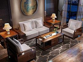 新中式沙发茶桌组合模型