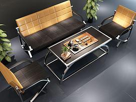 现代办公沙发茶具组合模型