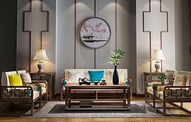 新中式禅意沙发组合模型