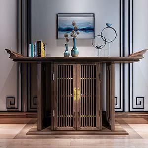 新中式实木禅意玄关柜模型