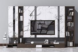 现代北欧电视柜背景墙模型