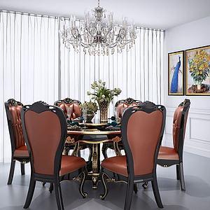 欧式简欧美式圆形餐桌椅模型