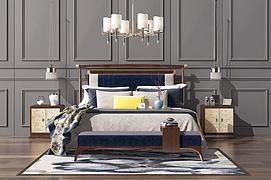 新中式实木双人床吊灯组合模型