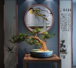 新中式盆景组合3d模型