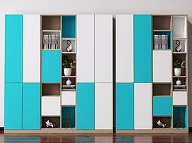 现代北欧书柜酒柜装饰柜模型