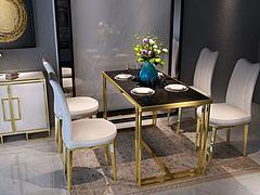 新中式金属餐桌椅组合模型3d模型