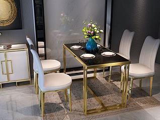 新中式金属餐桌椅组合3d模型