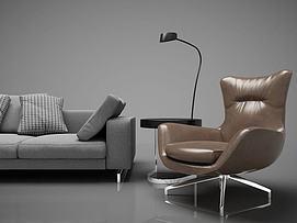 现代休闲沙发落地灯3d模型