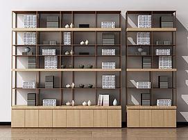 新中式书柜装饰柜陈列柜模型