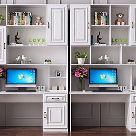 现代北欧书桌书柜电脑桌模型