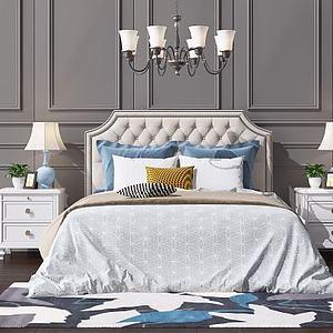 歐式簡歐吊燈美式雙人床模型3d模型