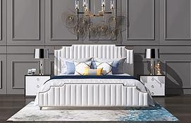 新中式吊灯欧式简欧双人床模型