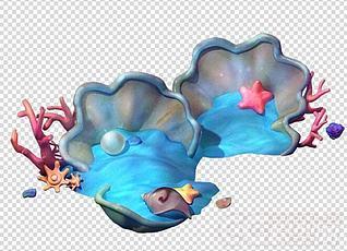 3d海螺贝壳海景模型
