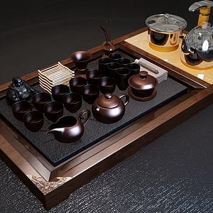 现代茶具组合模型