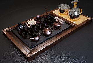 现代茶具组合3d模型