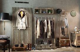 复古服饰展示架组合模型