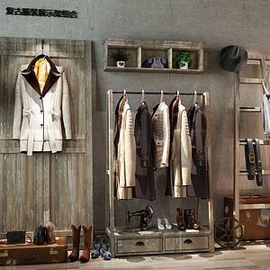 复古服饰展示架组合3d模型