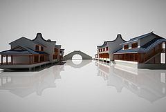 中国古建筑街道茶楼建筑模型3d模型