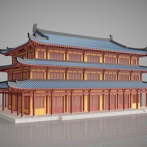 3d中国传统古建筑建筑外观模型