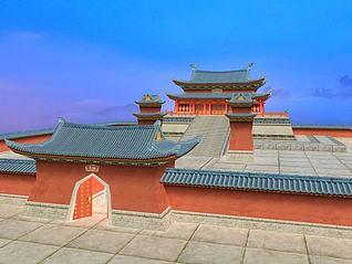 中国传统古建筑古建大殿3d模型