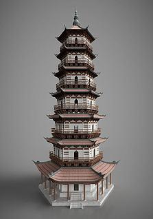 3d中国古建筑古建塔楼模型