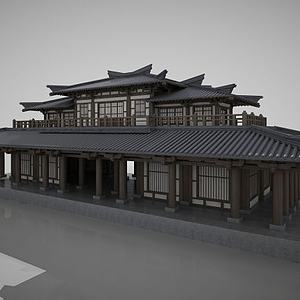 3d古建阁楼古建中国传统建筑模型