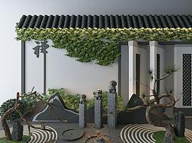 新中式园林景观组合模型
