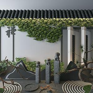 3d新中式<font class='myIsRed'>园林</font>景观组合模型