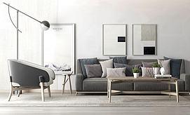 简约灰色沙发茶几组合模型