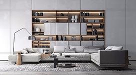 现代沙发书柜茶几组合模型