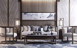 新中式沙发落地茶几组合模型