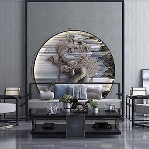 新中式沙发组合模型3d模型