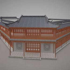 3d古建客栈住宿历史建筑模型