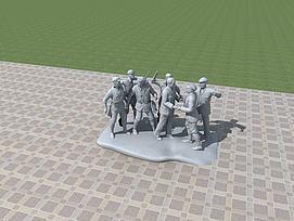红军雕塑模型