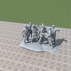 红军雕塑景观模型