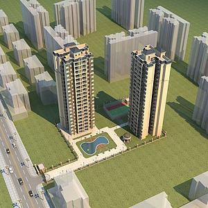 歐式高層住宅模型3d模型
