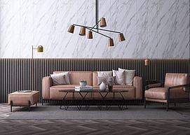 现代北欧轻奢沙发茶几组合模型