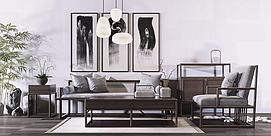 中式木纹椅子茶几组合模型