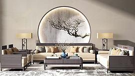 中式实木沙发茶几组合模型