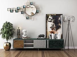 后现代电视柜摆件组合模型