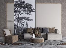 现代客厅沙发组合模型