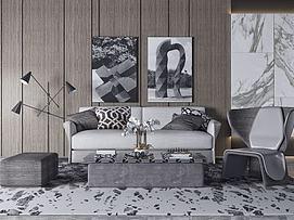 现代黑白灰沙发组合模型