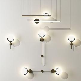 现代轻奢金属壁灯模型