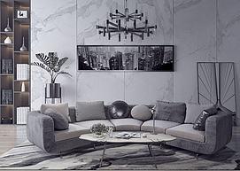 弧形现代沙发模型