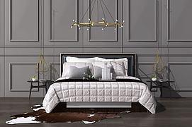 后现代北欧双人床吊灯组合模型