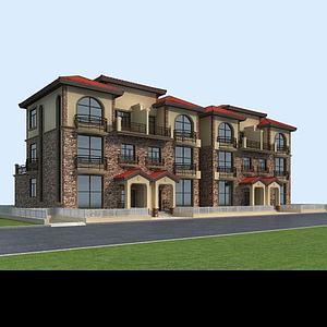 3d聯排別墅模型