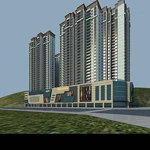 小区高楼建筑模型3d模型