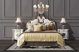 欧式双人床吊灯组合模型