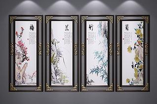 新中式装饰挂画3d模型