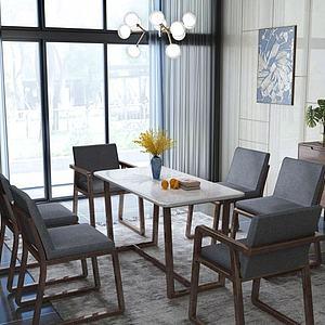 现代餐桌组合3d模型